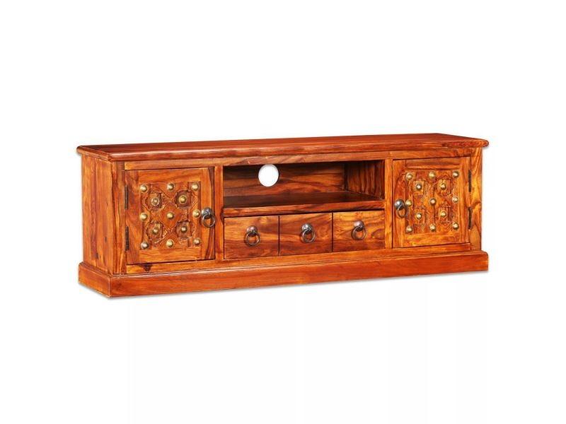 Meuble télé buffet tv télévision design pratique bois massif de sesham 120 cm helloshop26 2502176