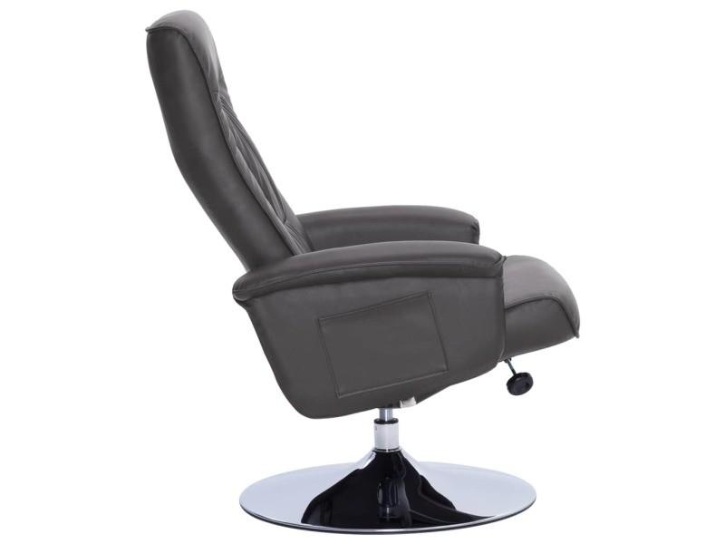 Vidaxl fauteuil inclinable avec repose pied gris similicuir