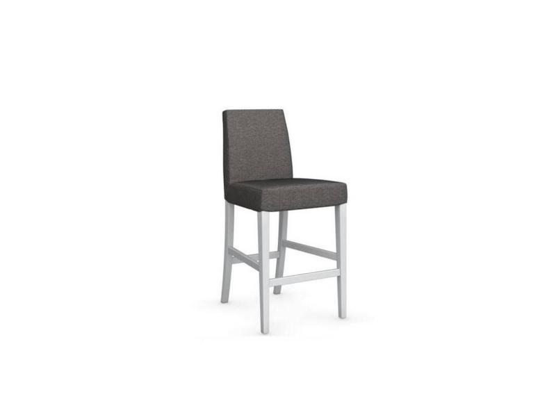 Chaise de bar latina piétement hêtre laqué blanc assise tissu grège 20100839337