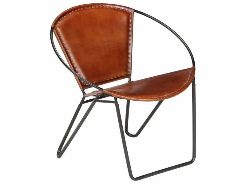 Fauteuil chaise siège lounge design club sofa salon de relaxation cuir véritable marron helloshop26 1102138/3