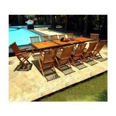 Salon de jardin teck et résine ensemble grande table et 12 chaises ...