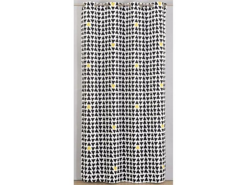 Rideau Double Rideaux Rideau Imprimé Triangle 135x260 Cm Noir