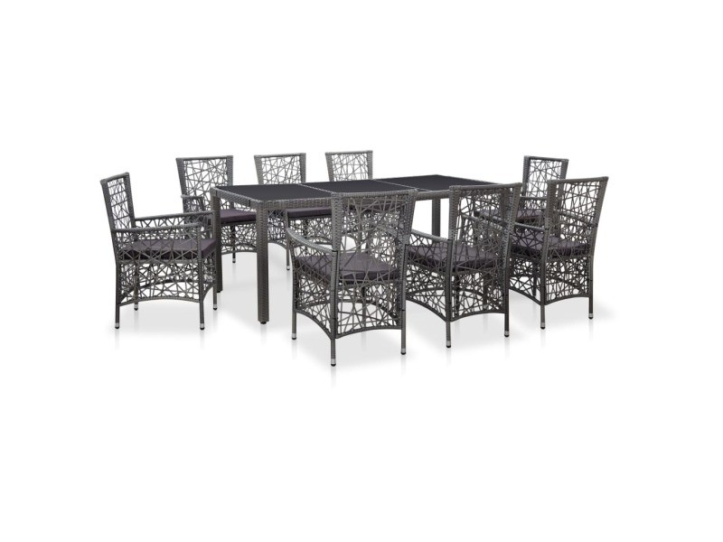 Moderne mobilier de jardin gamme nairobi mobilier à dîner d'extérieur 9 pcs résine tressée gris