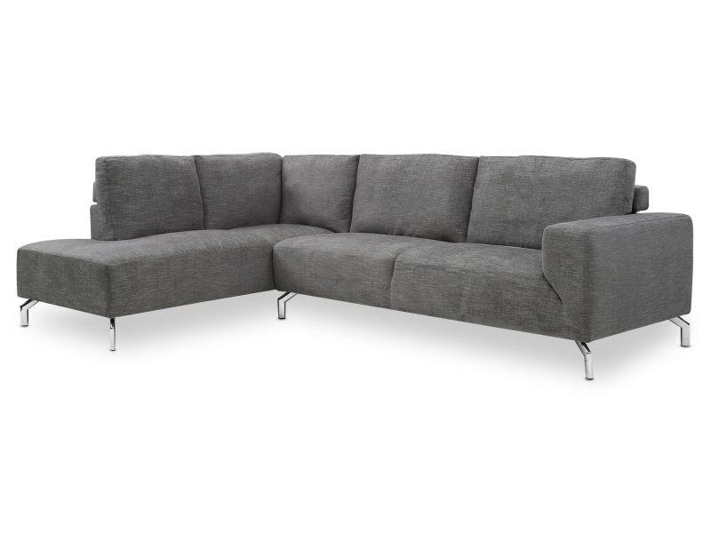 Canapé d'angle ursule tissu gris foncé
