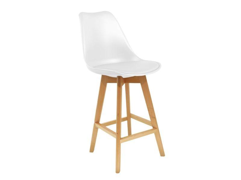 Lot de 2 chaises de bar - pieds en bois - blanc