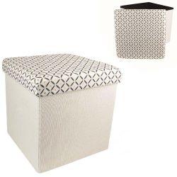 Coffre pouf de rangement pliable arty tissu blanc