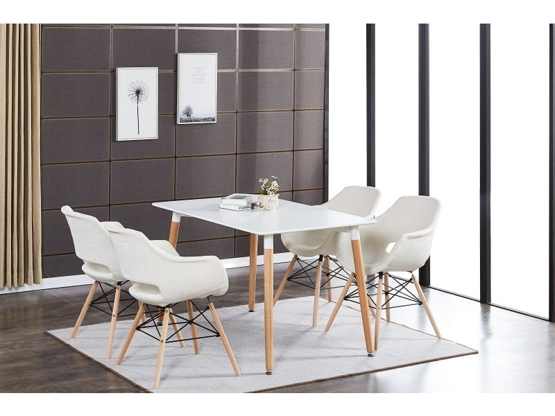 Table blanche & 4 chaises beiges en tissu olivia
