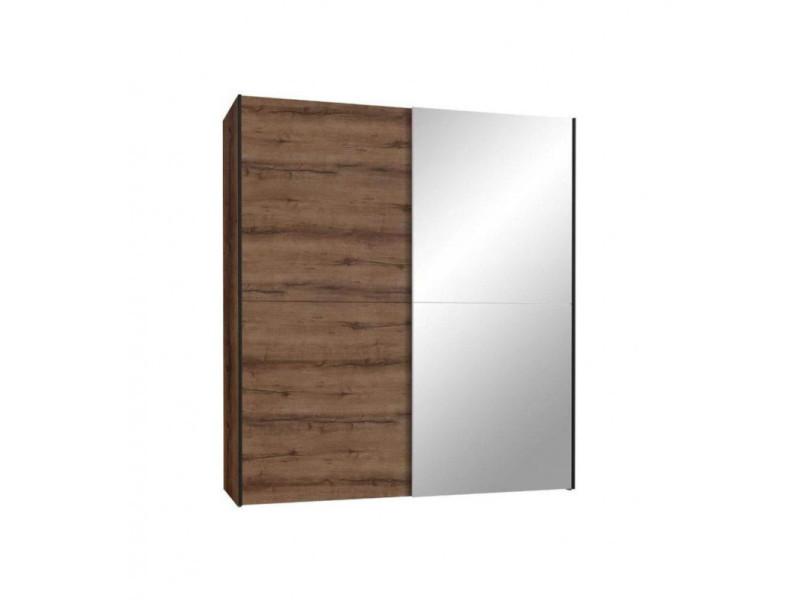 Armoire 2 portes coulissantes 5 tablettes bois chêne miroir - jeik