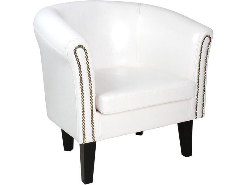 Fauteuil chesterfield en simili cuir et bois avec éléments décoratifs en cuivre chaise cabriolet meuble de salon blanc helloshop26 01_00000098
