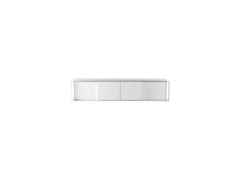 Meuble tv 220 cm blanc et chrome 4 portes suite