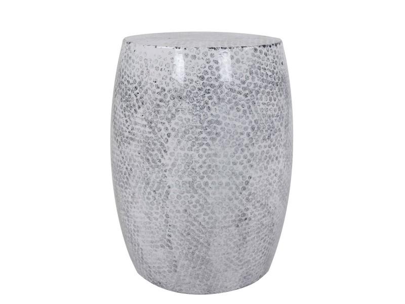 Colombo pouf / table d'appoint métallique - gris