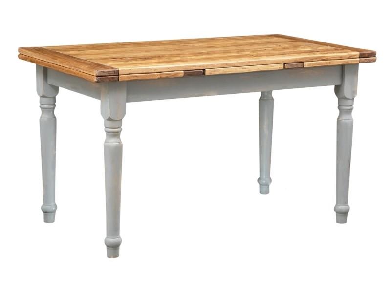 Table à rallonge champêtre en bois massif de tilleul massif, cadre gris antique, plan finition naturelle