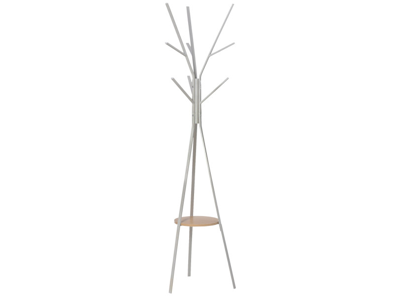 Porte-manteau trépied design contemporain branches étagère + 9 patères dim. 45l x 45l x 180h cm métal blanc