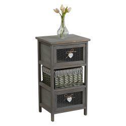 Commode maurice rangement 2 tiroirs et 1 panier étagère en bois de paulownia style shabby chic vintage rustique romantique gris