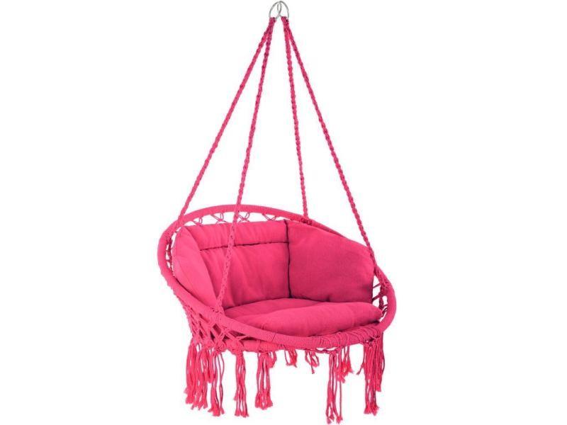 Fauteuil suspendu elisa hamac meuble jardin diamètre 80 cm rose helloshop26 2208167