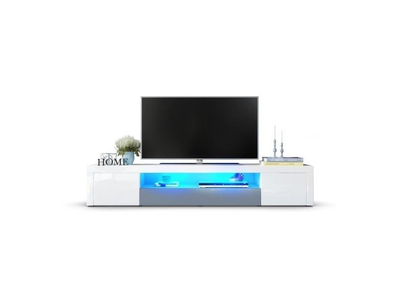 Meuble tv moderne laqué blanc et gris 200 cm avec led