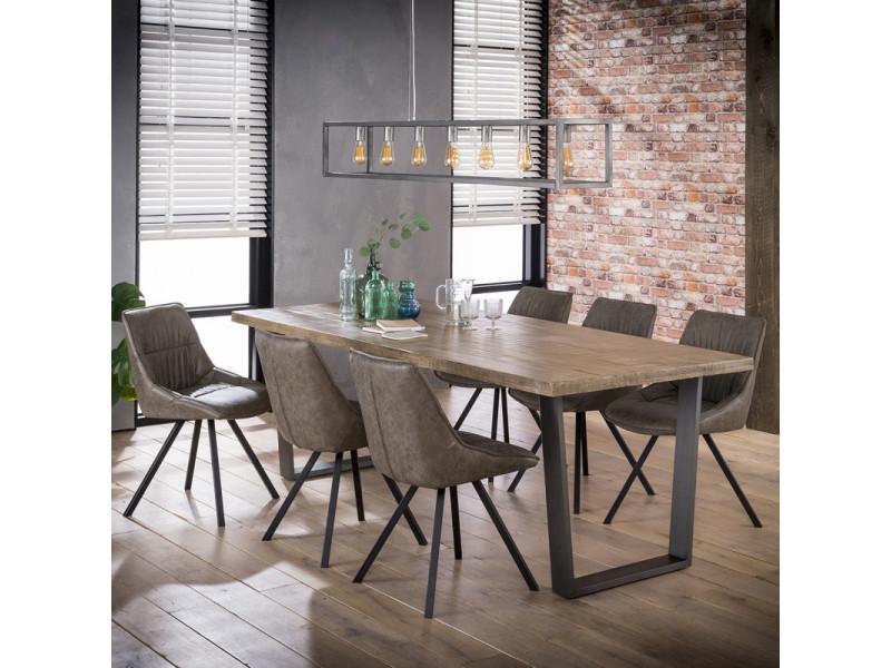 Table à manger industrielle en manguier massif bernard / coloris : chêne clair