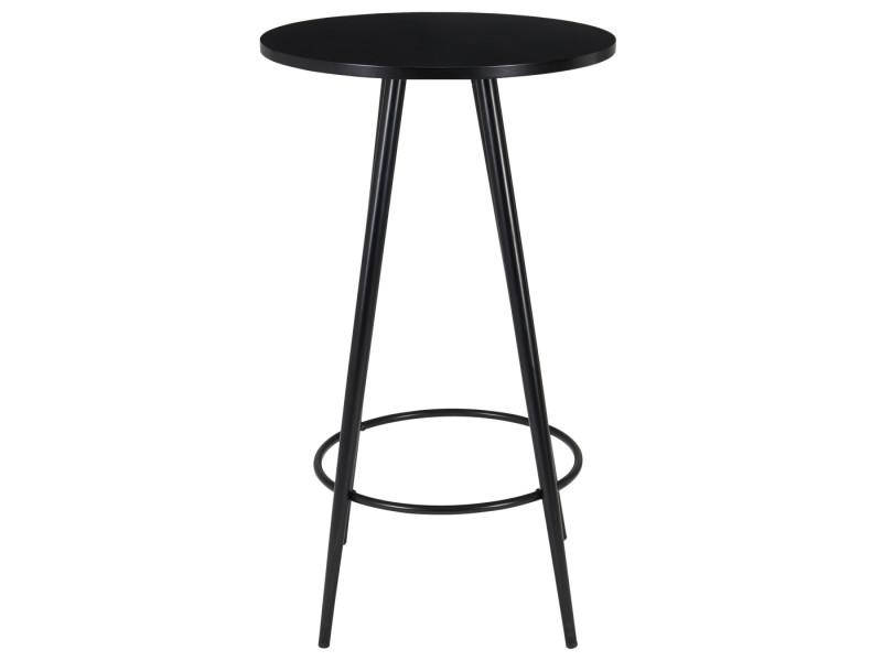 Duhome table de bar noire avec plateau en bois et pieds en métal 222