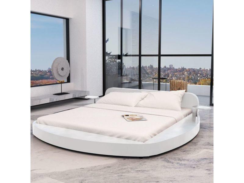 Vidaxl lit avec matelas 180 x 200 cm rond cuir artificiel blanc 274638 -  Vente de VIDAXL - Conforama d0a9923f6f69