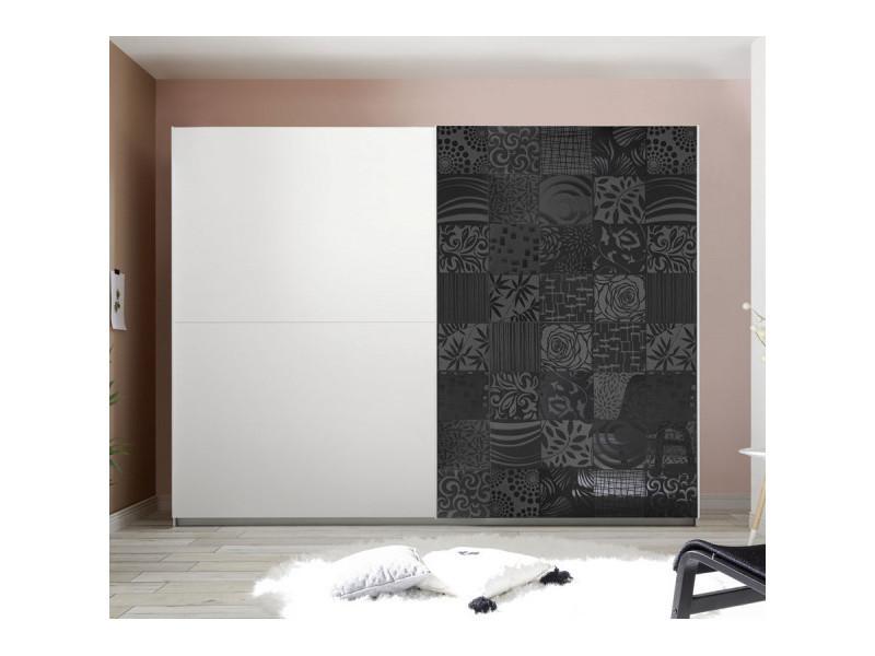 Armoire 2 portes 275 cm blanc/gris laqué - fiori - l 275 x l 64 x h 210 cm