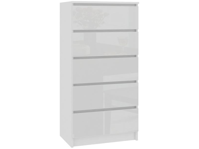Skandi - commode contemporaine chambre + salon + bureau 121x60x40 cm - 5 tiroirs - design moderne - chiffonier semainier - blanc laqué