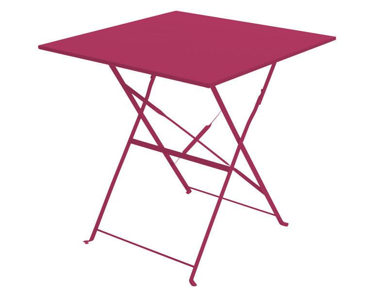 Table de jardin pliante camarque - 70 x 70 cm - rouge framboise ...