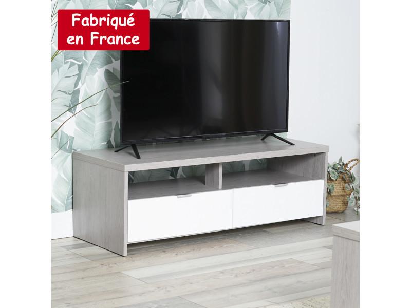Meuble tv rectangulaire 2 tiroirs et niches blanc et gris