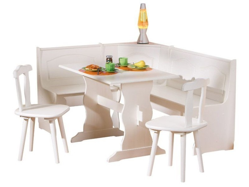Coin repas d'angle avec table et chaise en pin massif blanc