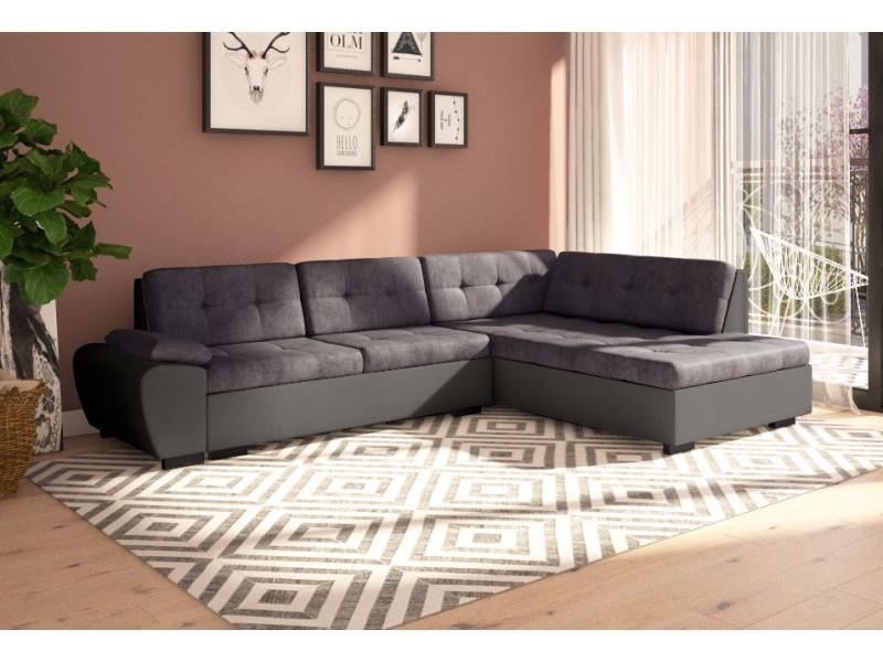 Canapé d'angle convertible avec lit gali en tissu gris et contour simili cuir noir