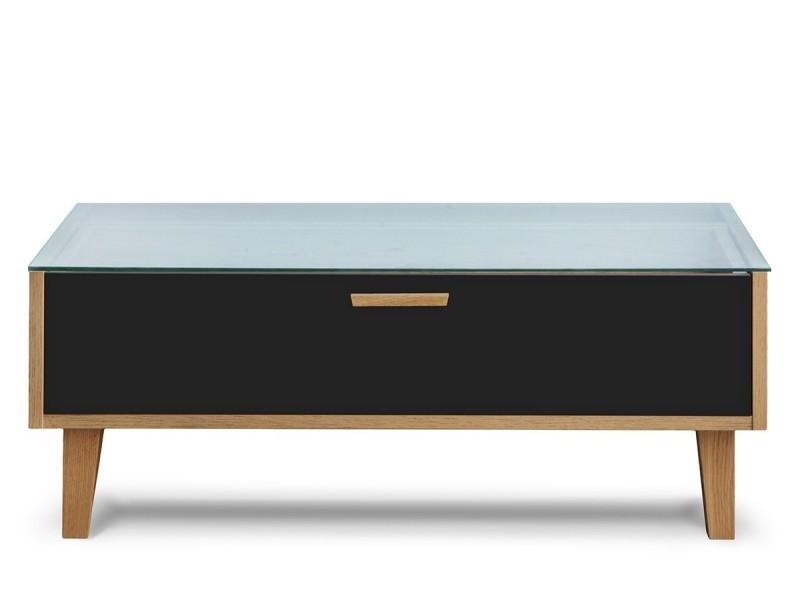 Frili - table basse style scandinave salon/séjour - 90x35x60 cm - plateau en verre + 1 tiroir + pieds en bois massif - noir/chêne