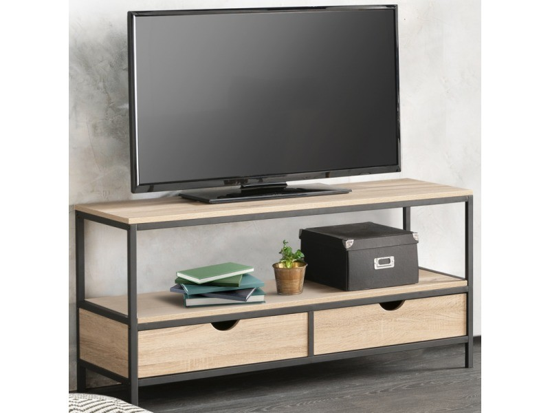 Meuble Tv Detroit 2 Tiroirs Design Industriel Vente De Id Market Conforama
