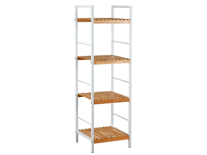Étagère 4 niveaux en métal blanc et bambou ajouré 33 x 32 x 109 cm