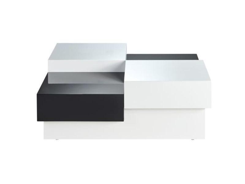 Table basse miami table basse carrée style contemporain laquée noir et blanc brillant - l 91 x l 91 cm