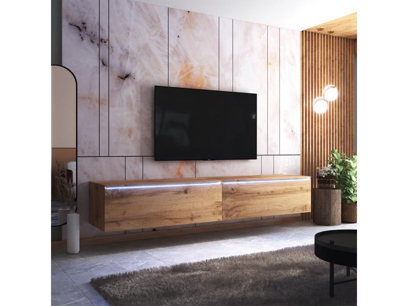 Meuble tv - skylara - 200 cm - chêne wotan - avec led