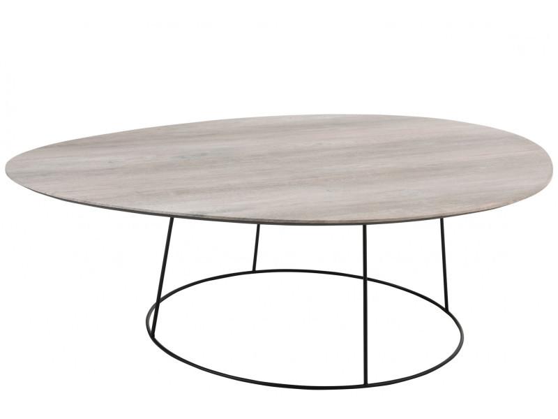 Grande Table Basse Ovale En Bois Et Metal Pearl Vente De