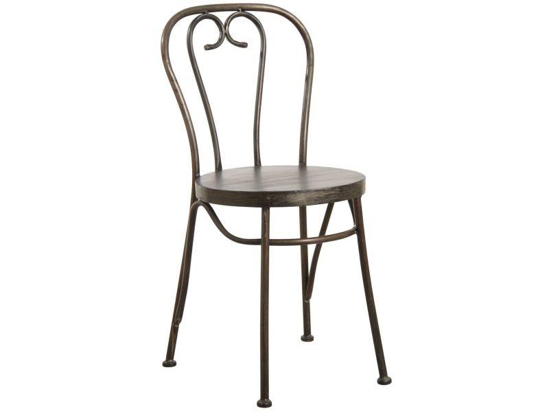 Chaise en métal noir vieilli