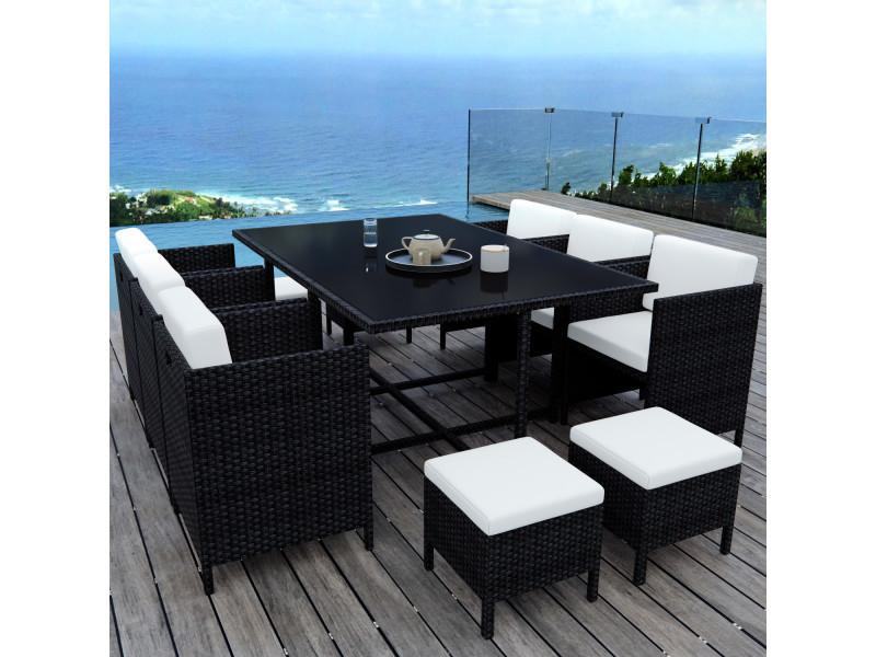 Munga 10 places - ensemble encastrable salon / table de jardin résine tressée - noir/ecru