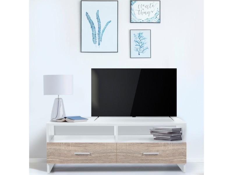 Meuble Tv Falko Bois Blanc Et Imitation Hetre Vente De Id Market