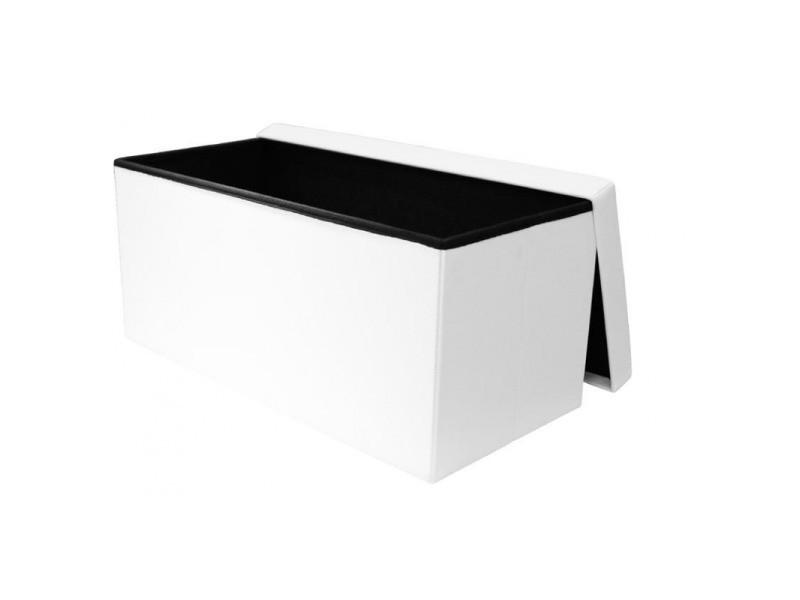 Coffre banc pliable capitonné- l 76,5 cm - blanc