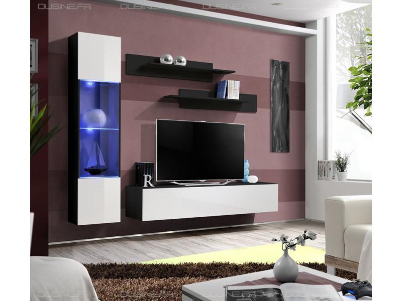 Meuble neuf tv laqué design neo suspendu led noir/blanc
