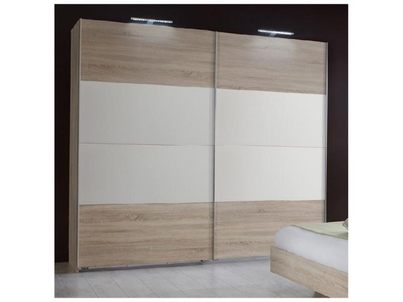 Armoire eva portes coulissantes largeur 180 chêne clair / blanc 20100889711