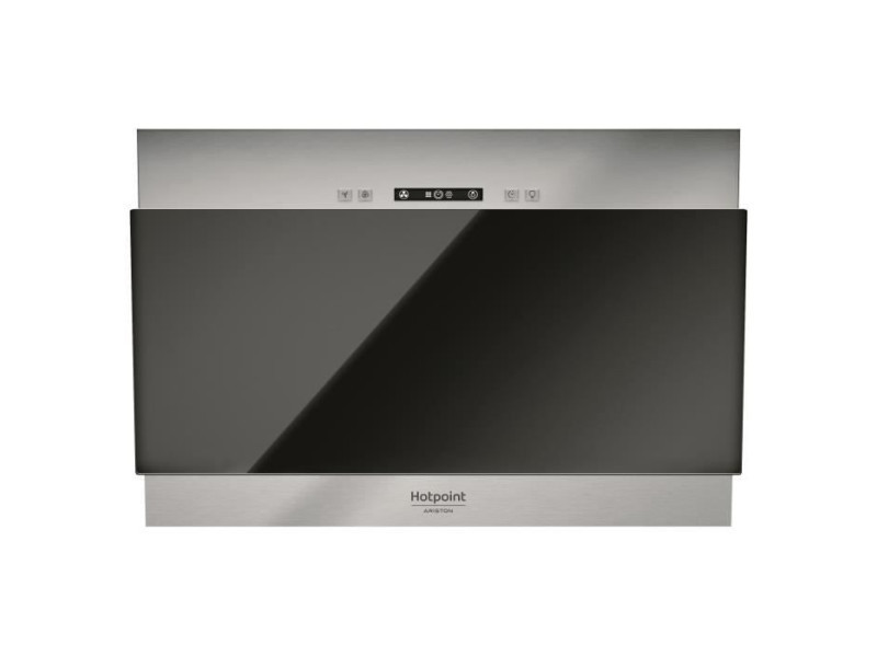Hotpoint hhvp6.4fllk hotte décorative - 384 m3 air / h max - 63 db max - 3 vitesses - l 60 cm - inox + verre noir