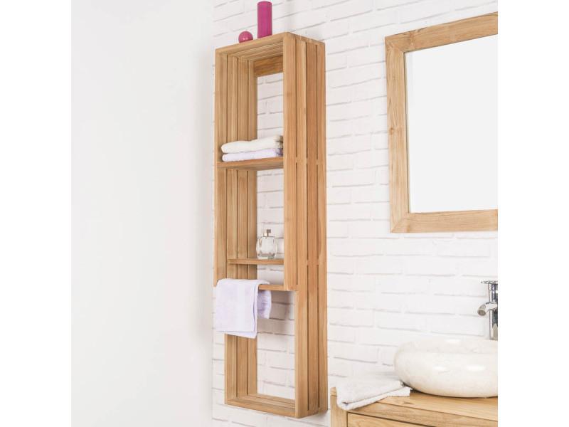 colonne porte serviette suspendu en teck carla 31124 vente de armoire colonne tag re. Black Bedroom Furniture Sets. Home Design Ideas