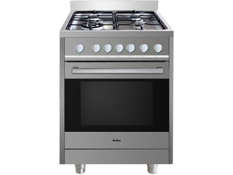 Amica acmp2005sx cuisiniere mixte 60x60 cm sur pieds inox AMI3260449046848
