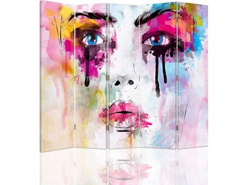 Paravent 5 volets avec des taches de peinture de visage 1 coté PAR/5CZ-1S/M_31076/180x150