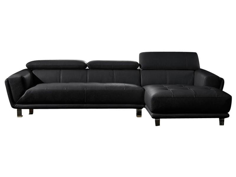 Canapé cuir angle celine - droit - noir