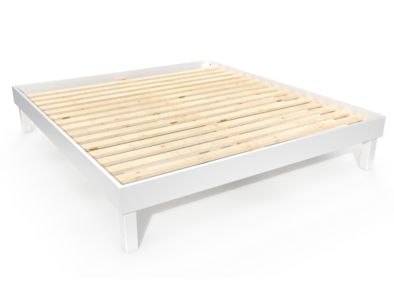 Lit confort grande taille 180x200 cm bois 180x200 blanc CONF180-LB