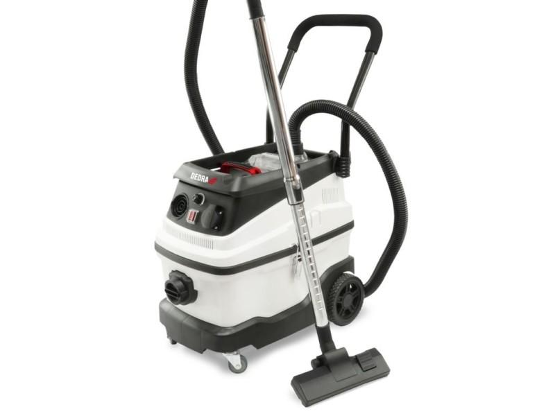 Dtools | aspirateur eau et poussière | 1600 w + prise 2000w | cuve inox capacité 30 l | aspirateur atelier | filtre hepa | blanc