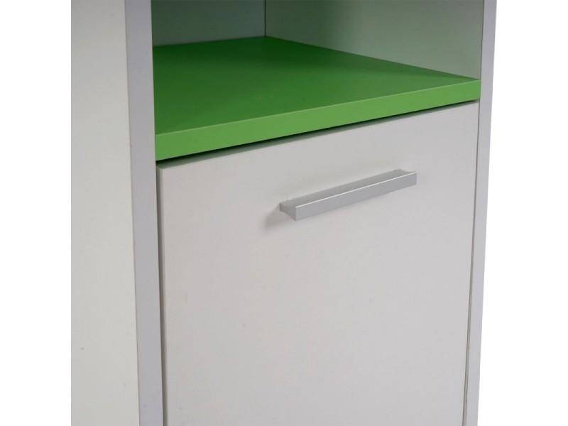 Meuble de salle de bain commode 82x32x28cm blanc vert for Commode rangement salle de bain