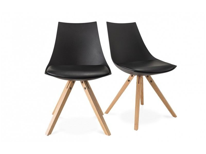 Lot de 2 chaises scandinave noir vente de chaise conforama for Chaise sejour noir